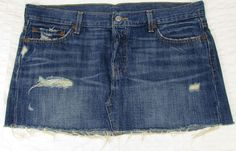 Levis Levi s 501 Mini Micro Jean Skirt Red Tab Distressed Button Fly sz 30 EUC
