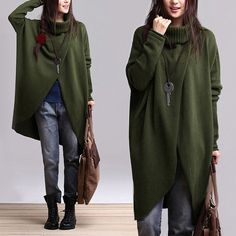Irregular Hem Cotton Sweater Knitwear Knitted Tops Woman Coat Outwear- Green - Women Clothing on Etsy, £52.29