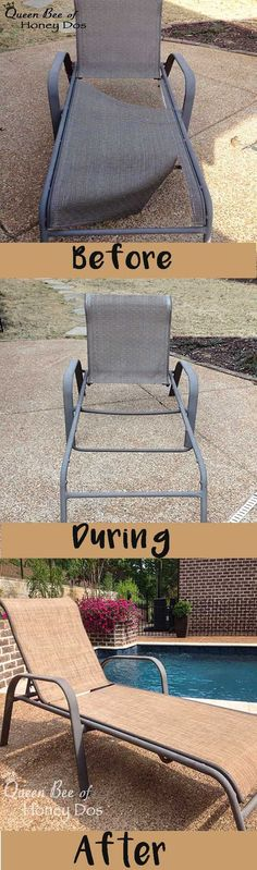 Often old sling chairs or chaises become worn or torn. See how to repair sling chairs and chaises at Queen Bee of Honey Dos.