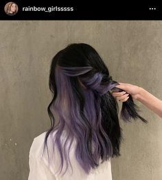 Hair Color Streaks, Hair Color Purple, Hair Dye Colors, Hair Color For Black Hair, Cool Hair Color, Hair Highlights, Two Color Hair, Dyed Black Hair, Unique Hair Color