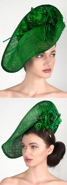 Emerald Green Saucer Silk Floral Headpiece Fascinator. In Dress2ImpressEtsy store (Click to view). Handmade with Flowers (can make any colour). Fashions on the Field, Mother of the Bride, Racing Fashion, Day at the Races. Hand Dyed in vibrant Emerald Green. Mass produced sinamay hats never have rich colour!. Millinery, Fascinator, Hatinator, made in UK, finished with Swarovski Crystals. Oaks Day Melbourne Outfit. #handmade #millinery #fashionsonthefield #racingfashion #wedding…