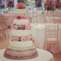 Wedding cake with fresh flowers by Mimosa Bakery