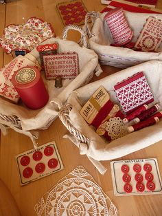 Wonderful collection of vintage red and white sewing treasures.