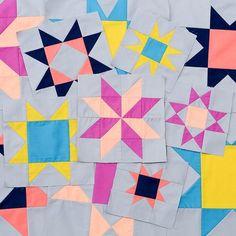 solid color half square triangle star blocks