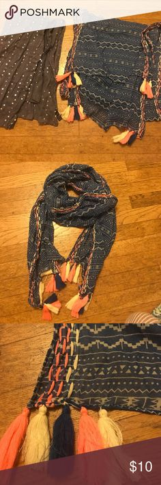 💁🏼 BUNDLE • TWO SCARVES 💁🏼 1. American Eagle - blue print with tassels in yellow, pink, and blue. 2. Banana Republic - gray/blue with silver sequins. Works great as a wrap cover up for weddings! American Eagle Outfitters Accessories Scarves & Wraps
