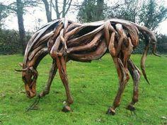 Driftwood horse art