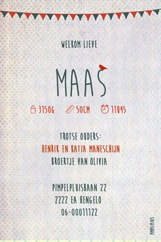 Geboortekaartje Maas - achterkant - Pimpelpluis - https://www.facebook.com/pages/Pimpelpluis/188675421305550?ref=hl (# vintage - retro - vlaggetjes -  jongen - lief - silhouet - vogel - tekst - layout - origineel)