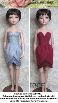 STRAIGHTFORWARD SEWING Pattern SSP-011: Tulip by Raccoons Rags. Tulip couture dress for Ellowyne.
