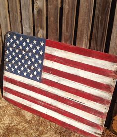 American Flag rustic, wooden sign made from reclaimed pallet wood