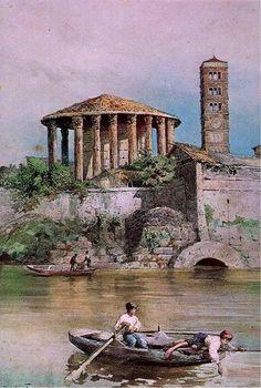 Acquarello di Ettore Roesler Franz : sbocco Cloaca Maxima con sfondo del tempio di Ercole Vincitore.