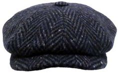 Irish Donegal Tweed. Made in Europe. 11 Inch Wide Crown. Navy Blue Herringbone. 7 1/2 inches.
