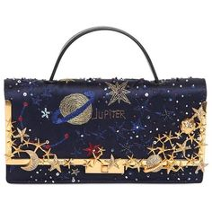 VALENTINO Cosmos Embroidered Satin Clutch (£3,255) ❤ liked on Polyvore featuring bags, handbags, clutches, purses, valentino, bolsas, midnight blue, beaded purse, clasp handbag and beaded handbag