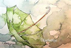 Green Umbrella in the Rain Watercolor Painting by RoseAnnHayes