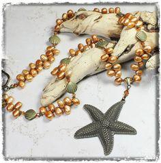 Sea Star... Handmade Jewelry Necklace Beaded Pearl Crystal Antique Brass Metal Beach Ocean Starfish Seashell Sea Shell Clam Bronze Copper