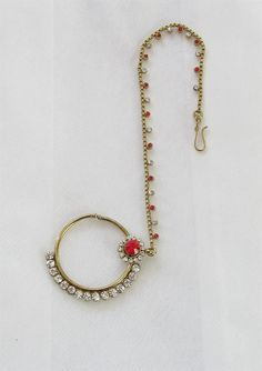 Gold antique red stone nose ring hoop chain for by Beauteshoppe