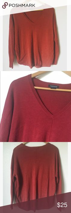 Trouve Maroon Drape Sweater Maroon, dark red drape long sweater with rib down the middle. Long sleeved with v-neck. Lightly used condition has some pilling throughout. Trouve Sweaters V-Necks