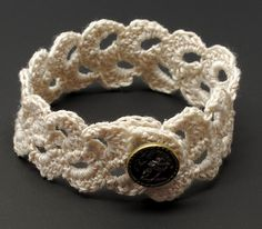 Ravelry: Lace Double Scallop Trim Bracelet pattern by Gwen Fisher - free pattern