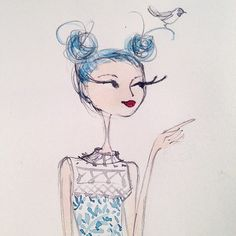 Bird Whisperer by Anne Keenan Higgins Fashion Illustration Sketches, Art And Illustration, Illustrations, Graphic Design Illustration, Watercolor Illustration, Doodle Drawings, Cute Drawings, Doodle Girl, Girl Sketch