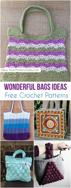 Wonderful Bags Ideas [Free Crochet Patterns] Adorable bags, totes and more free crochet patterns and Ideas #crochet #crochetbag #tote #freecrochetpatterns #bags #markettote #craft