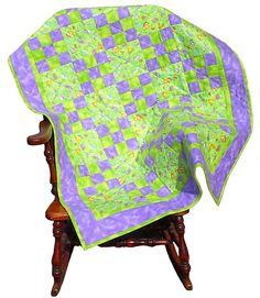 Baby Bug Flannel Baby Quilt, handmade OOAK purple butterfly infant blanket nursery crib, 38 x 50