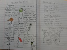 We done some fun Halloween similes in my class with the sixth graders this year, and that work clearly inspired Max's tribute to the monsters of Halloween here.  He only entered the colored page in the contest, but I loved his zombie-compared-to-6th-grader piece he's working on now enough to show it to you too.  Mr. Stick is at my website: http://corbettharrison.com/Mr_Stick.html