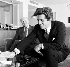 John F. Kennedy Jr. interviewing Gerald Ford in September 1996.
