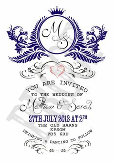 PERSONALISED VINTAGE NAVY BLUE SHABBY CHIC WEDDING INVITATIONS