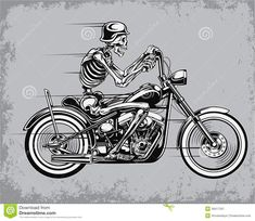 Skeleton Riding Motorcycle Vector Illustration - Download From Over 58 Million High Quality Stock Photos, Images, Vectors. Sign up for FREE today. Image: 38417331