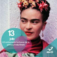 13 de julio LXI aniversario luctuoso de la pintora Frida Khalo