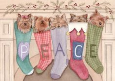 Christmas cards Yorkshire terrier yorkie by watercolorqueen, $14.99