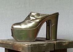 70s BIBA Iconic Gold Metallic Platforms