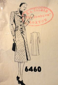 Vintage 1930s Madame Weigel's Pattern ~ LADIES COAT