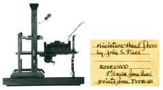 Miniature printing press by John Fass in the collection of the Lititz Museum