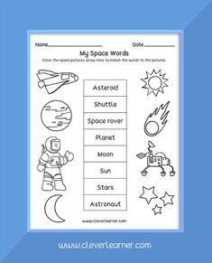 Free printables of things in the solar system for preschool and kindergarten Homeschool Kindergarten, Kindergarten Worksheets, Solar System Worksheets, Space Words, Star System, Sun And Stars, Free Preschool, Pre School, Free Printables
