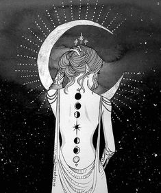 moon art * moon art & moon art drawing & moon art painting & moon art vintage & moon art for kids & moon art wallpaper & moon art whimsical & moon artwork Art And Illustration, Illustration Inspiration, Witch Art, Hippie Art, Moon Goddess, Moon Art, Dark Art, Art Inspo, Fantasy Art