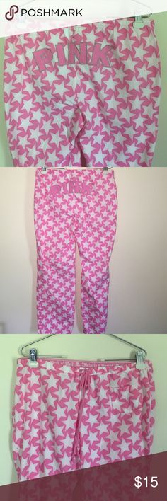 Medium Victoria's Secret Pink lounge pajama pants These are in like new condition and were only worn a couple of times. They have a drawstring and button fly as well as an elastic waist band. They also roll up and button so you can make capris out of them. They are Victoria's Secret rock 'n' roll line featuring white stars. I bundle discount and ship same day!! PINK Victoria's Secret Intimates & Sleepwear Pajamas