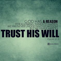"""""""GOD has a reason for allowing things to happen we may never understand His wisdom but we simple have to trust His will."""" PSALM 37:5"""