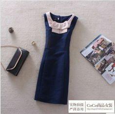 2014 women vintage peter pan collar ol elegant slim all-match color block wool vest one-piece winter dress women AS1127 $53.33