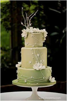 Green and light brown floral cake.
