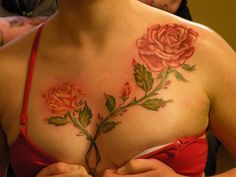 Red rose flower tattoo design for chest tattoos for girls. Its really amazing to have a tattoo on women's chest. Best Tattoo Designs, Tattoo Sleeve Designs, Tattoo Designs For Women, Sleeve Tattoos, Tattoo Girls, Girl Tattoos, Tattoos For Guys, Sexy Tattoos, Tatoos