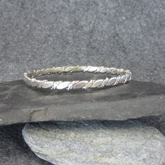 Vintage, Solid Sterling Silver, Bangle, Bracelet, Mexico, Twisted, Handmade, 925, Simple by BonfireStudio on Etsy