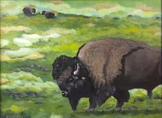 Bison Bison-Acrylic Painting by Suzanne Connors Bison Tattoo, Cow, Graphic Design, Creative, Artist, Animals, Painting, Animales, Animaux