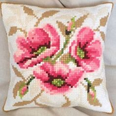 "Cross-stitch counted cushion ""Wild Roses"""