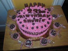 cheetah print cake with chocolate covered oreo's