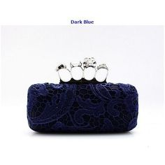 Ladies' Skull Clutch Knuckle Rings Handbag, Lace Four Fingers Evening Bag with Shoulder Chain punk wallet free shipping 088A
