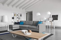 Italian design - gray sofa - wood table - contemporary furniture available at www.avantifurniture.net