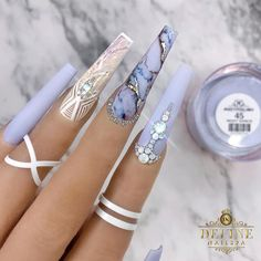 145 Beautiful Marble Nails to Copy Right Now Summer Acrylic Nails, Best Acrylic Nails, Aycrlic Nails, Bling Nails, Nail Swag, Stylish Nails, Trendy Nails, French Nails Glitter, Nagel Bling
