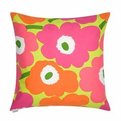Pieni Unikko Cushion Cover in white, pink, yellow .Buy all Marimekko cushions online in NZ and Aussie. Orange Pillows, Pink Pillows, Colorful Pillows, Pillow Shams, Throw Pillow Covers, Throw Pillows, Cushion Covers, Marimekko, Day Glow