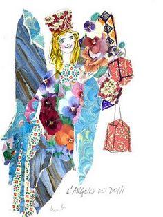 ✔️ Emanuele Luzzati - L'angelo dei doni Painted Curtains, Illustratore, Collage Illustration, Angelo, Pinocchio, The Magicians, Creative Ideas, Theatre, Princess Zelda