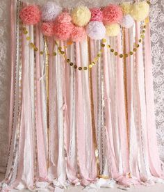 Pink white Lace Pom Poms flowers Sparkle fabric backdrop Wedding ceremony stage,birthday,baby shower Newborn party backdrop Garland by SilverDrawer on Etsy Source by Best Kadın Party Kulissen, Shower Party, Baby Shower Parties, Party Ideas, Baby Showers, Party Time, Birthday Decorations, Baby Shower Decorations, Wedding Decorations
